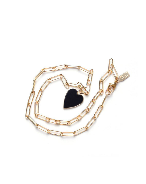 Heart Paper Clip Necklace - Gold