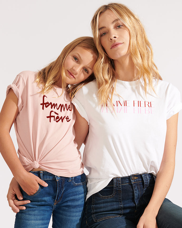 Petite Femme Fiére Tee - Dusty Pink