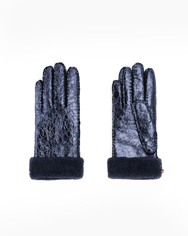 Metallic Shearling Gloves - Navy