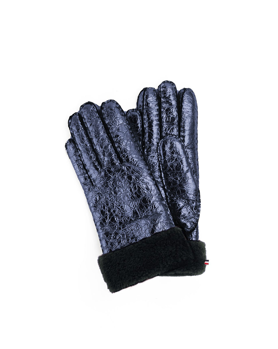 Metallic Shearling Glove - Navy