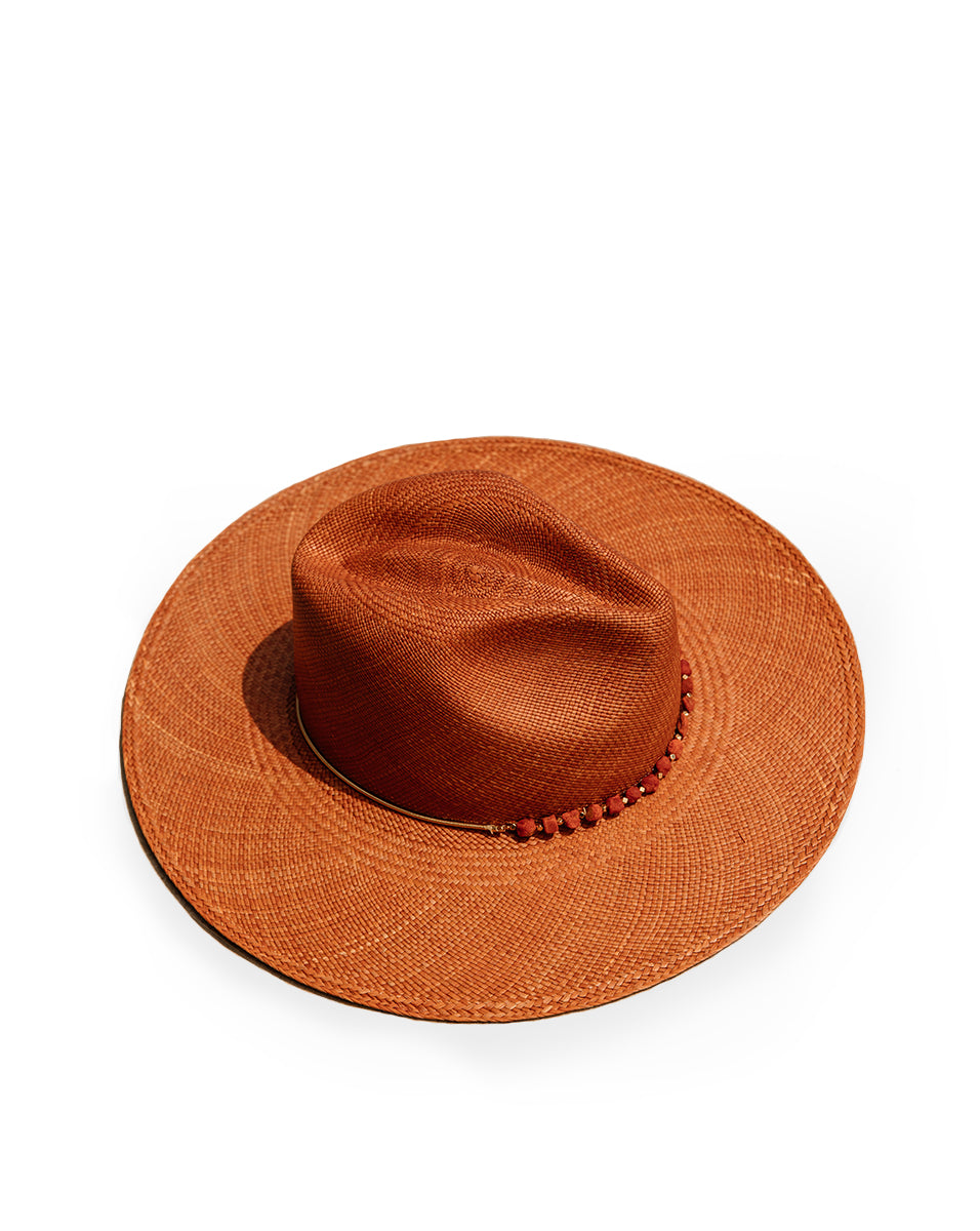 Lea Beaded Hat - Terracotta