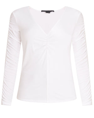 Sera Ruched Tee - White