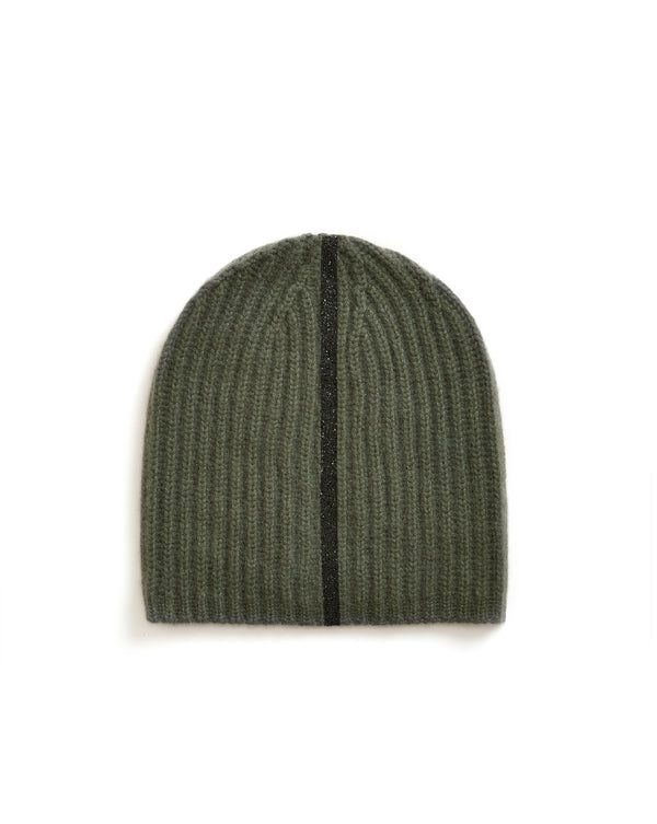 Alexa Stripe Cashmere Beanie - Army Green/Black