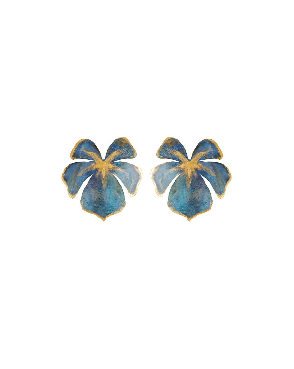 Little Tahiti Earrings - Blue/gold