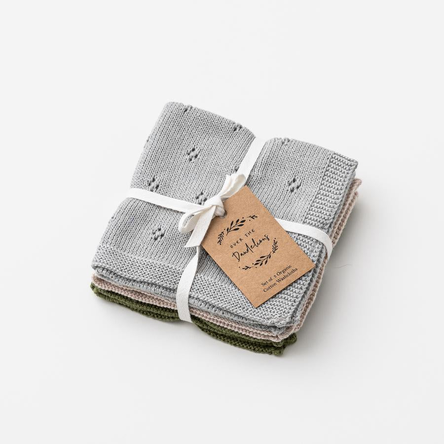 Over The Dandelions Organic Cotton Wash Cloth Set - Sea