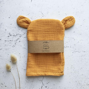 Over The Dandelions Organic Bear Wash Glove Saffron