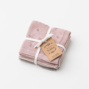Over The Dandelions Organic Cotton Wash Cloth Set - Dusk