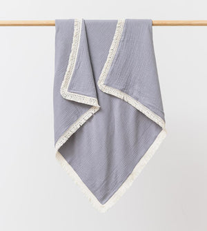 Over The Dandelions Organic Muslin Blanket With Boho Tassel Fringe - Cloudy