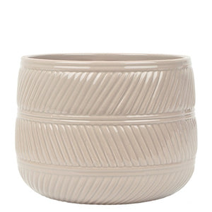 Eva Ceramic Pot 15cm - Taupe Gloss
