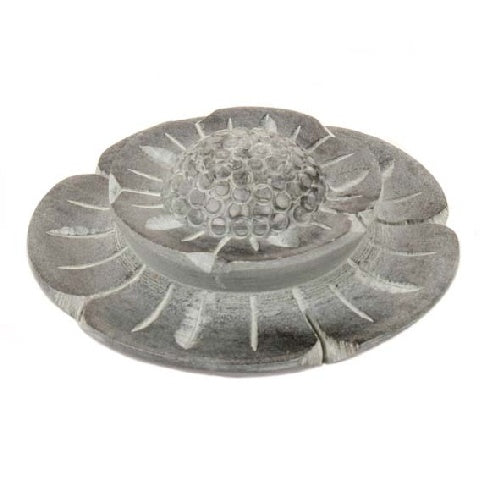 Carved Stone Flower Incense Holder