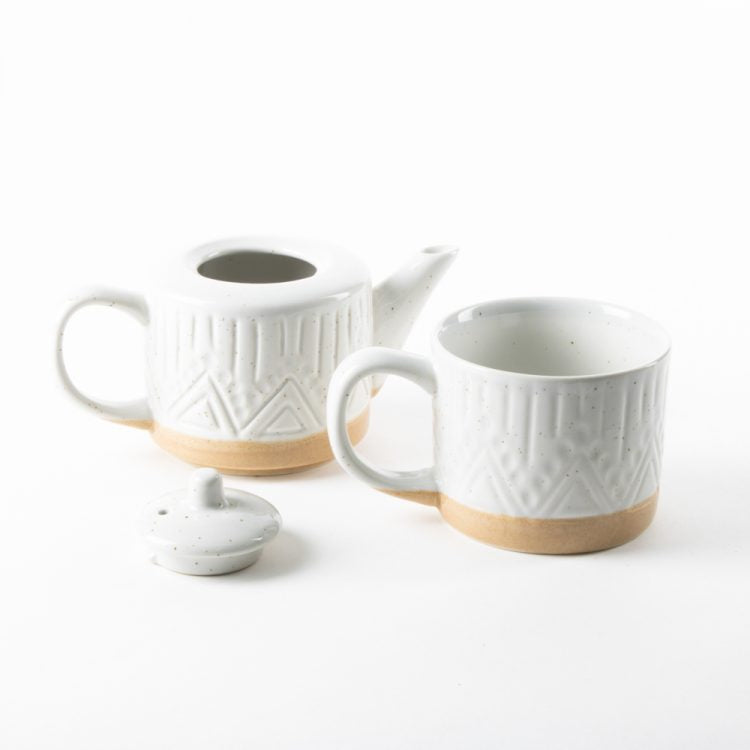 Linear Speckle Ceramic Teapot And Mug