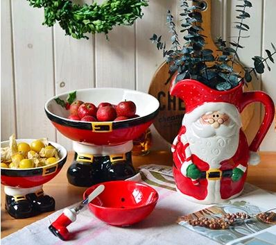 Handmade Ceramic New Year Christmas Gift Santa Claus Fruit Bowl Snack Bowl