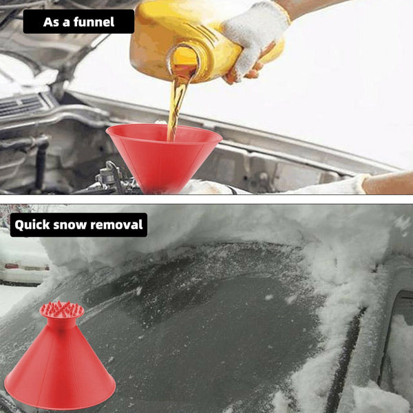 2X Magical Car Windshield Ice Snow Remover Scraper Tool Cone Shaped Round Funnel ec_legendec_legend