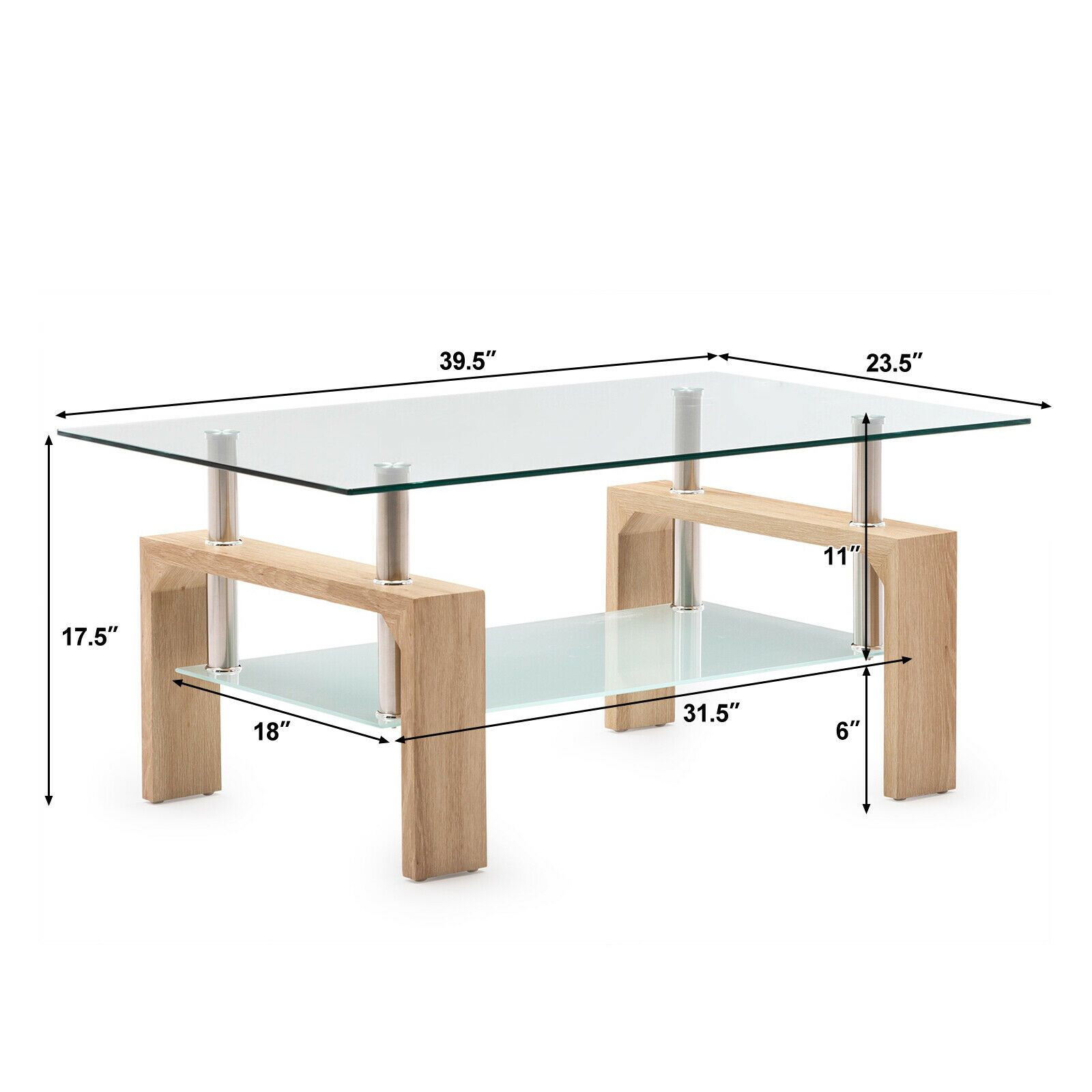 Modern Rectangle Cocktail Coffee Table Glass & Wood Living Room With Lower Shelf sale4better