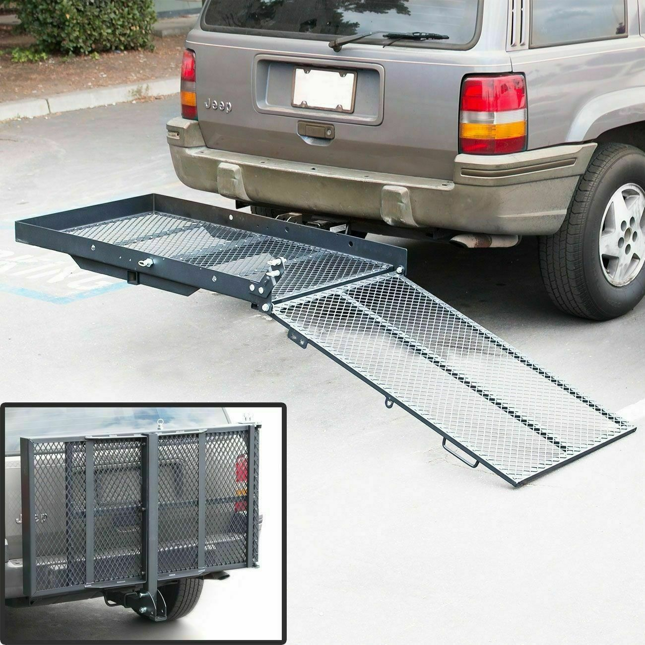 Trailer Hitch Folding Wheelchair Scooter Carrier Disability Rack w/ Loading Ramp
