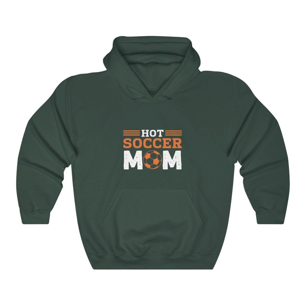 Hot Soccer Mom Hooded Sweatshirt Hoodie Printify Forest Green S