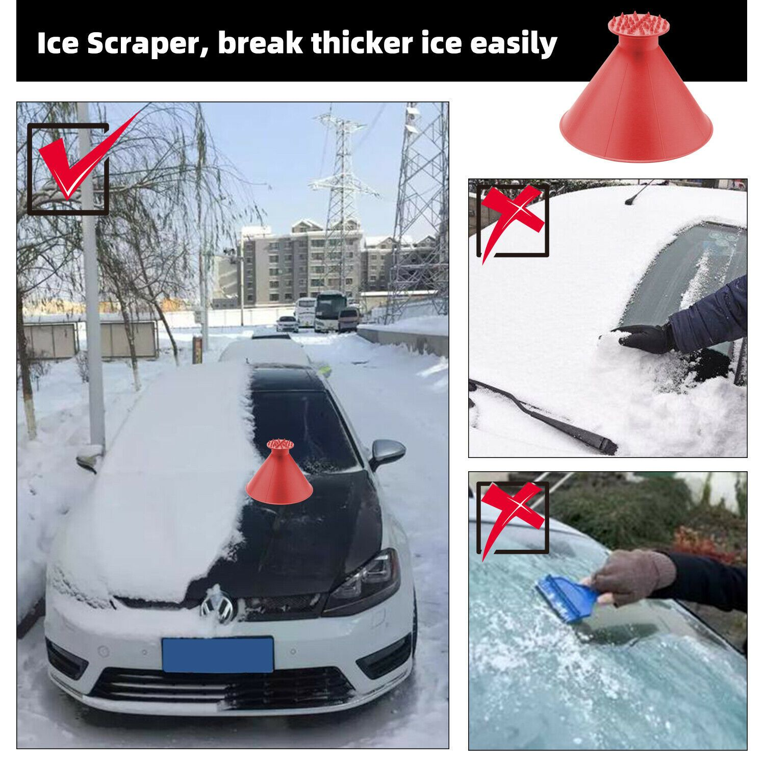 2X Magical Car Windshield Ice Snow Remover Scraper Tool Cone Shaped Round Funnel