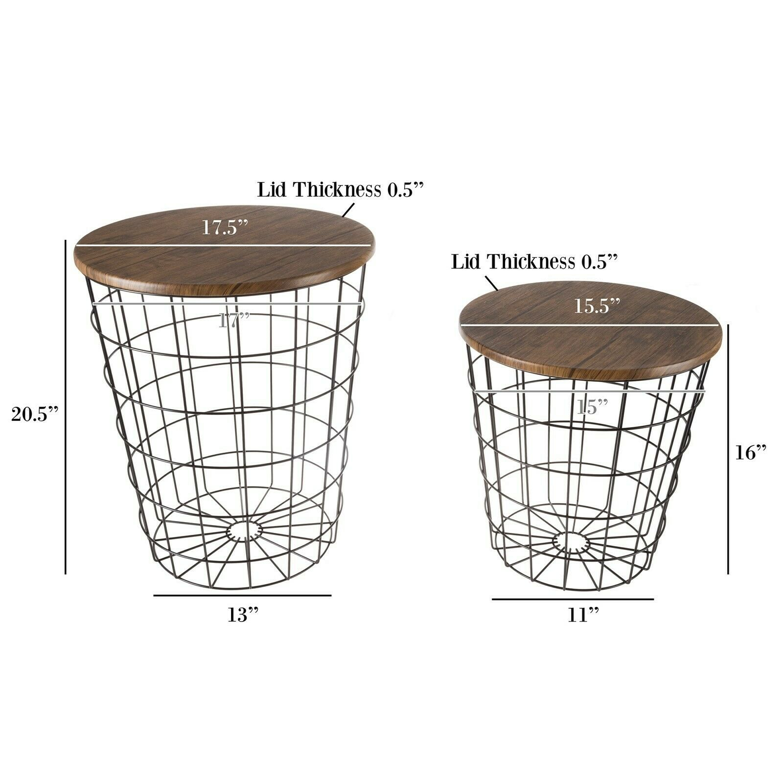 2 Convertible Nesting End Tables Metal Basket Wooden Top Home Office Furniture www.5stardeal.com