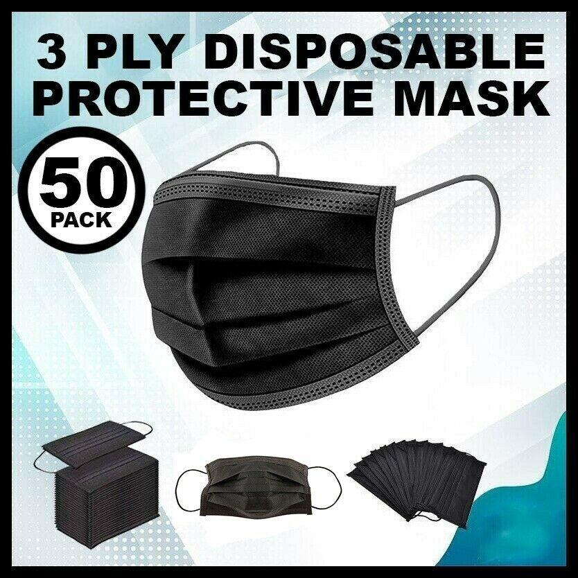 50 PCS BLACK Face Mask Mouth & Nose Protector Respirator Masks with Filter