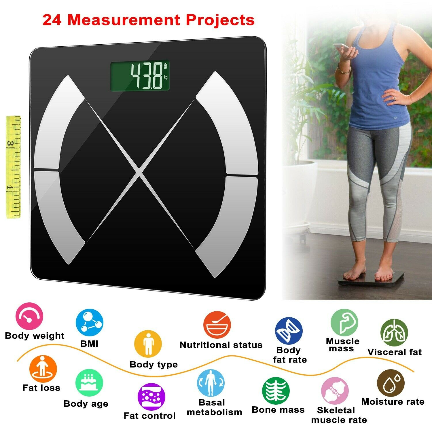 Bathroom Smart Scale For Body Fat, Bones, and BMI with Digital iOS Android App