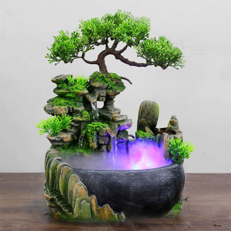 Wealth Feng Shui Ornaments Desktop Flowing Water Waterfall Fountain With Color Changing LED Lights Spray