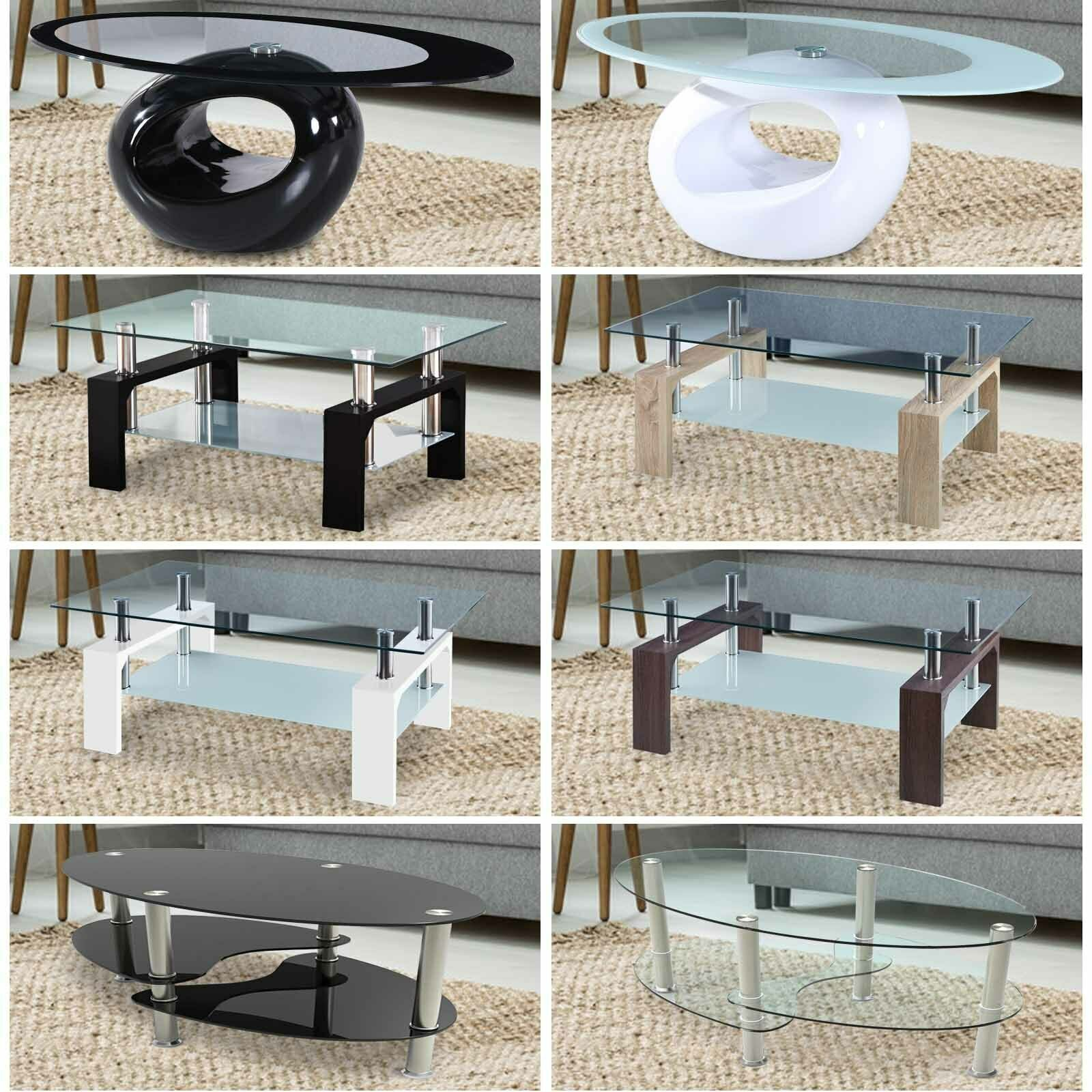 Modern Coffee Table Stable Glass & Wood W/ Shelf Storage Living Room Furniture