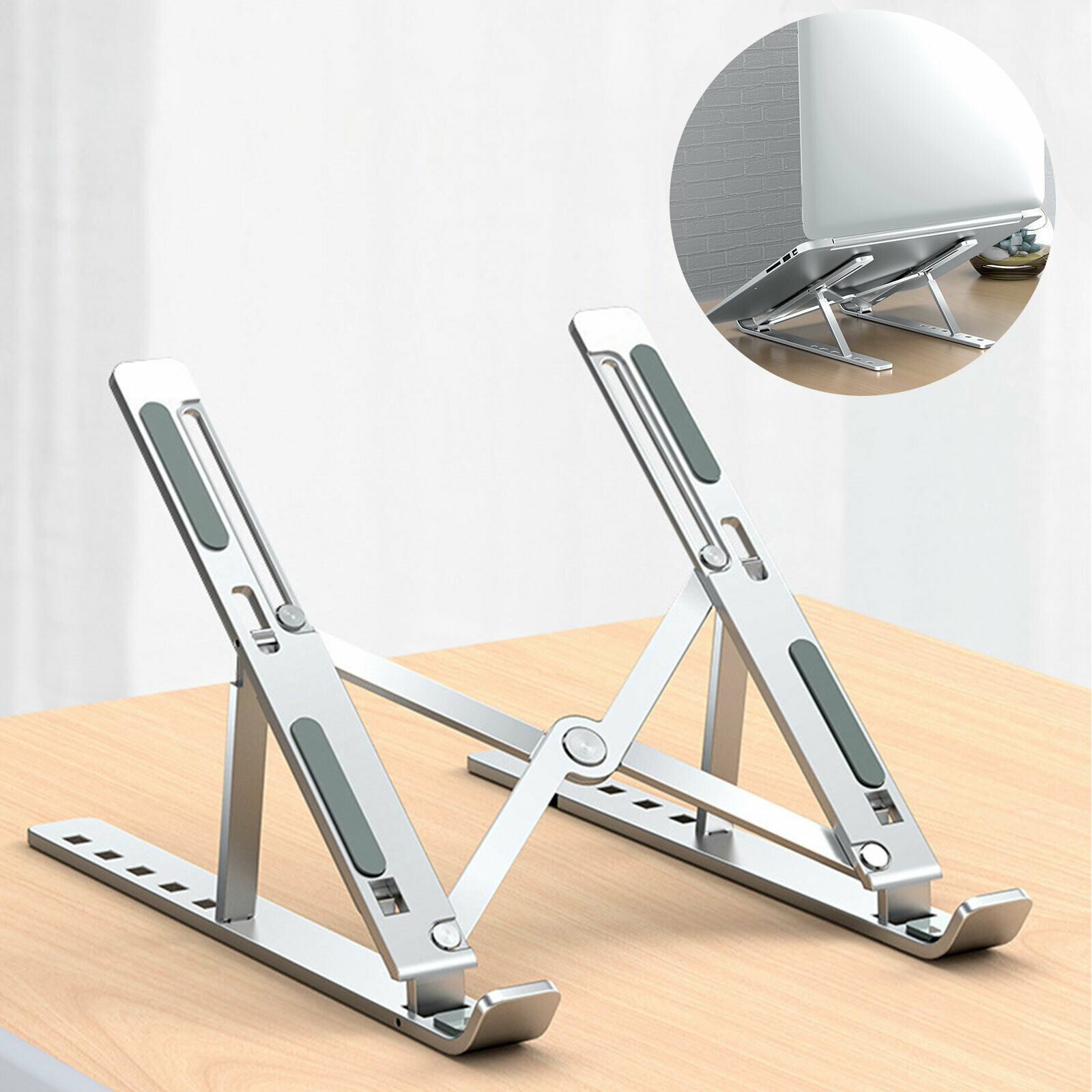 Ergonomic Portable Folding Aluminum Adjustable Notebook, Tablet, Laptop Stand
