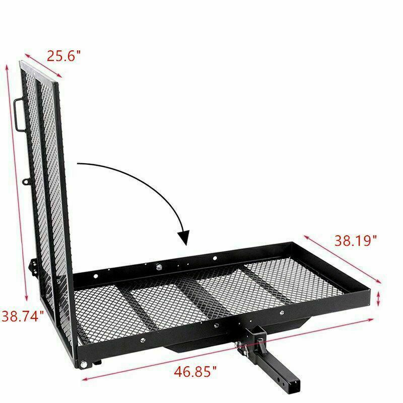 Trailer Hitch Folding Wheelchair Scooter Carrier Disability Rack w/ Loading Ramp lucksports-mall