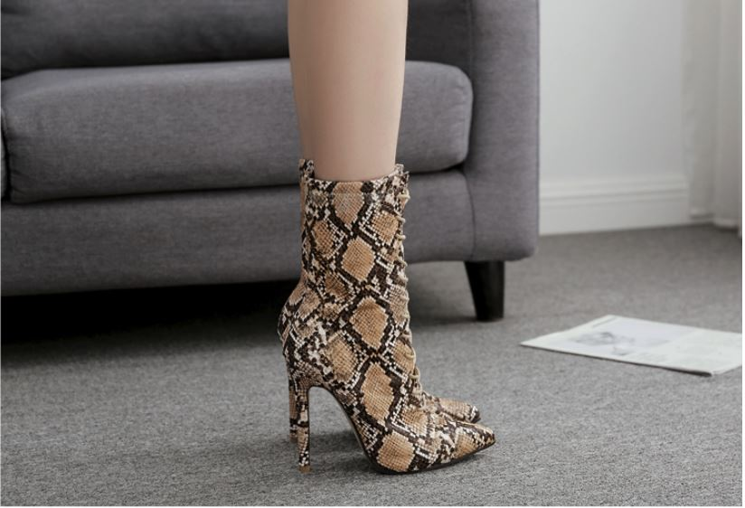 Snake Print Ankle Boots Urban Pronto