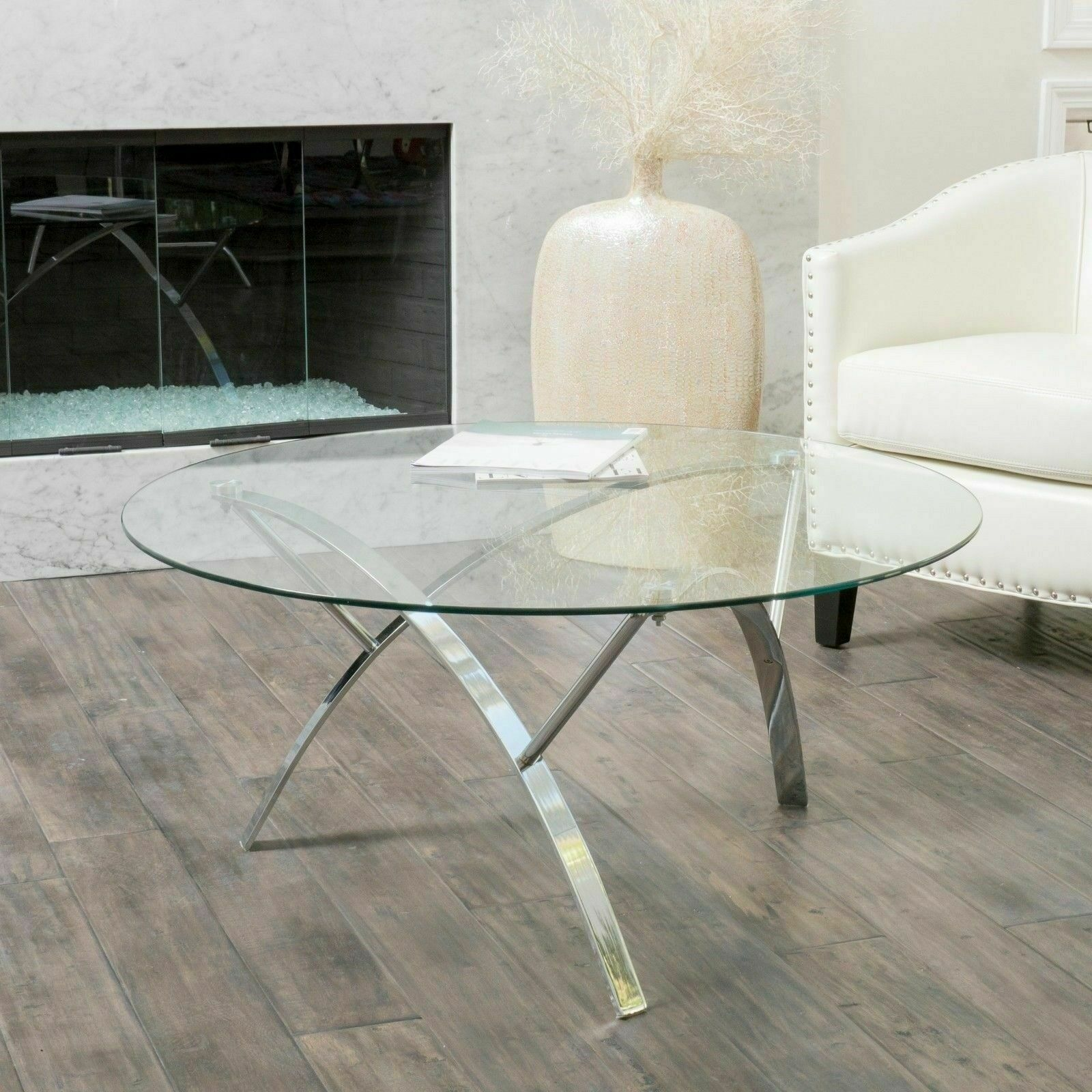 Tempered Glass Round Accent Coffee Table w/ Chrome Legs