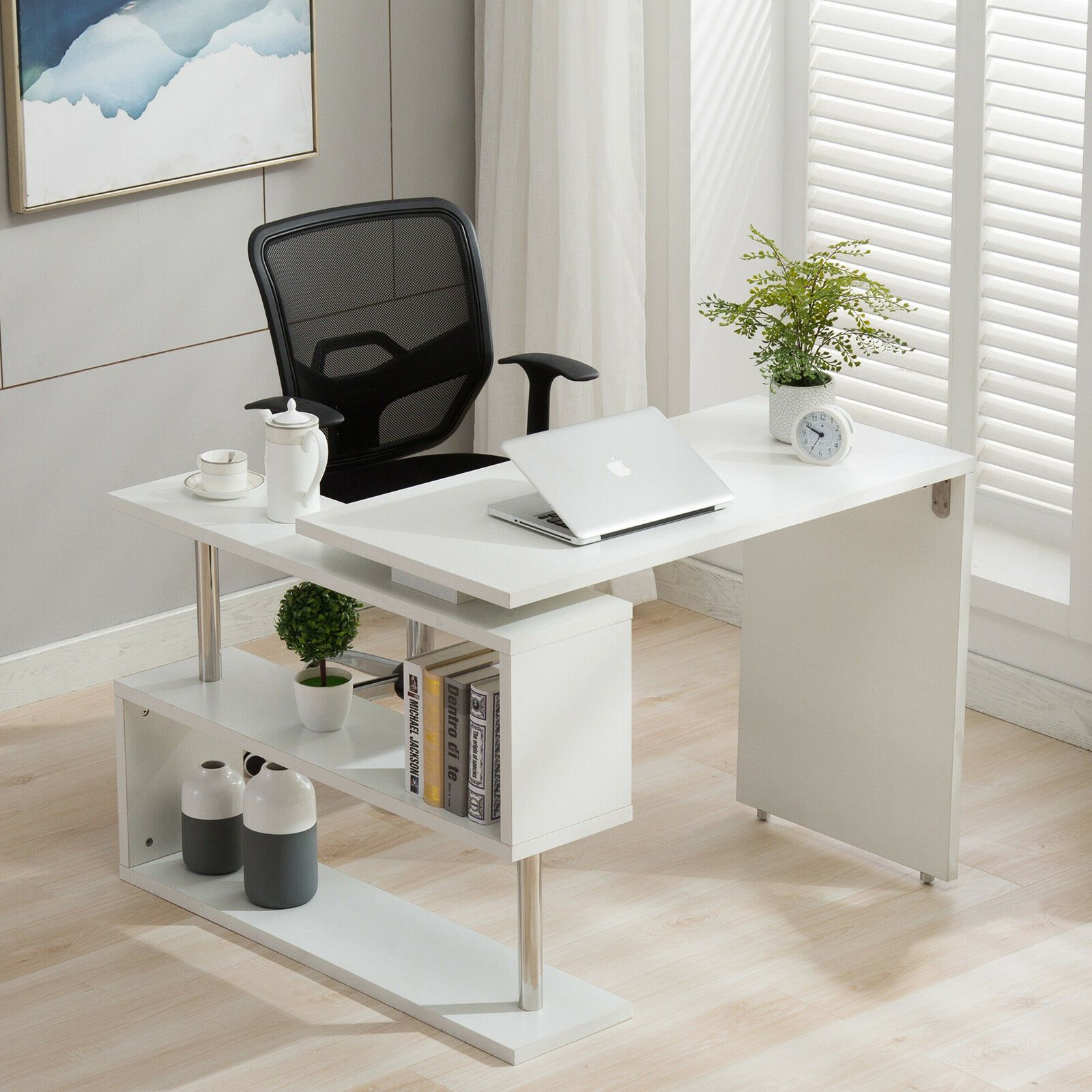 Home Office 360°Rotating CornerComputer Desk Workstation