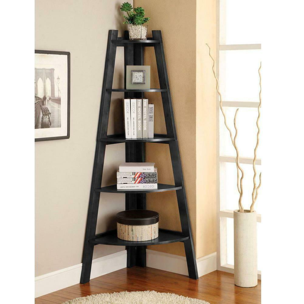 5 Shelves Expresso Corner Shelf Stand Wood Display yallstore
