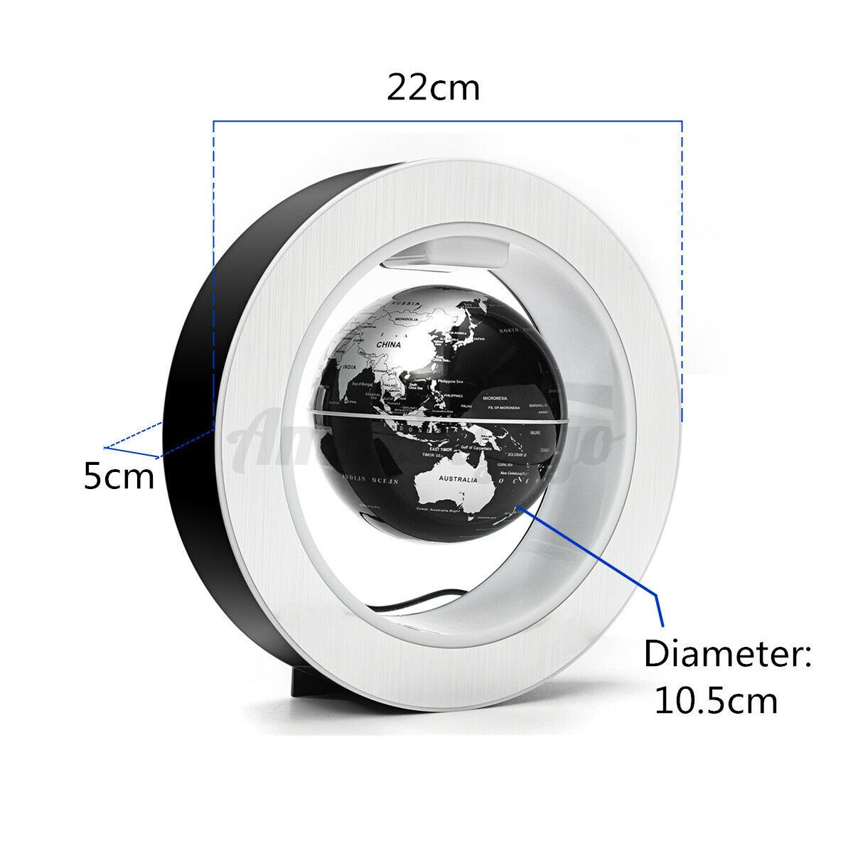 "4"" Magnetic Floating Globe Levitation O Shape LED World Map amazingogo"
