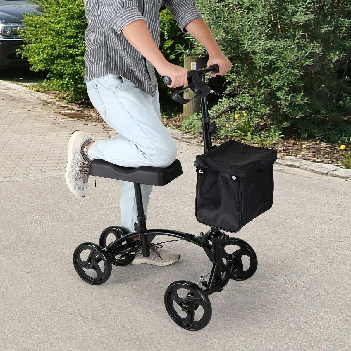 4 Wheel Steerable Knee Walker Scooter w/Storage Basket Adjustable Height