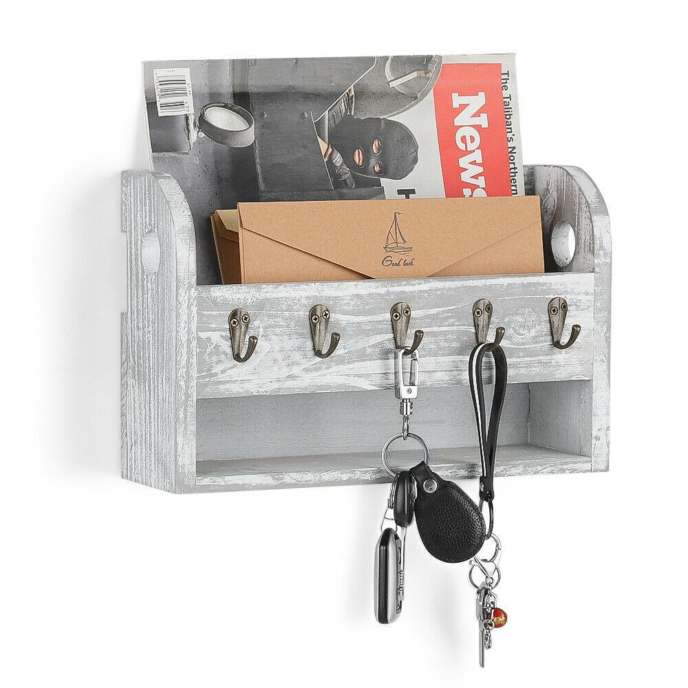 Wall-Mounted Letter Rack Holder with 5 Key Hooks Envelope Organizer For Entryway