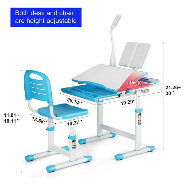 Blue Height Adjustable Kids Study Desk Chair Set superworthboutiquesuperworthboutique