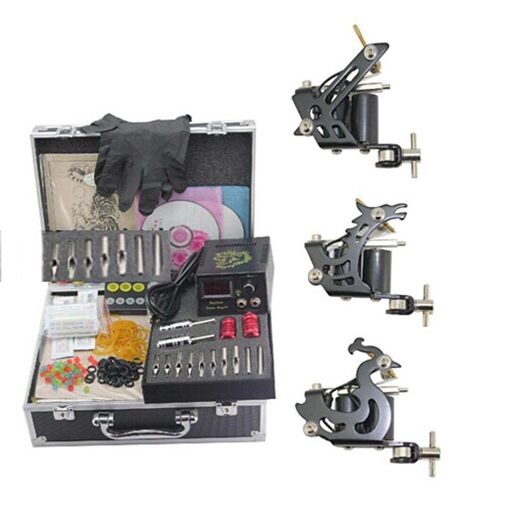 Tattoo Machine Professional Tattoo Kit - 3 pcs Tattoo Machines Mini power supply Case Included 3 steel machine liner & shader