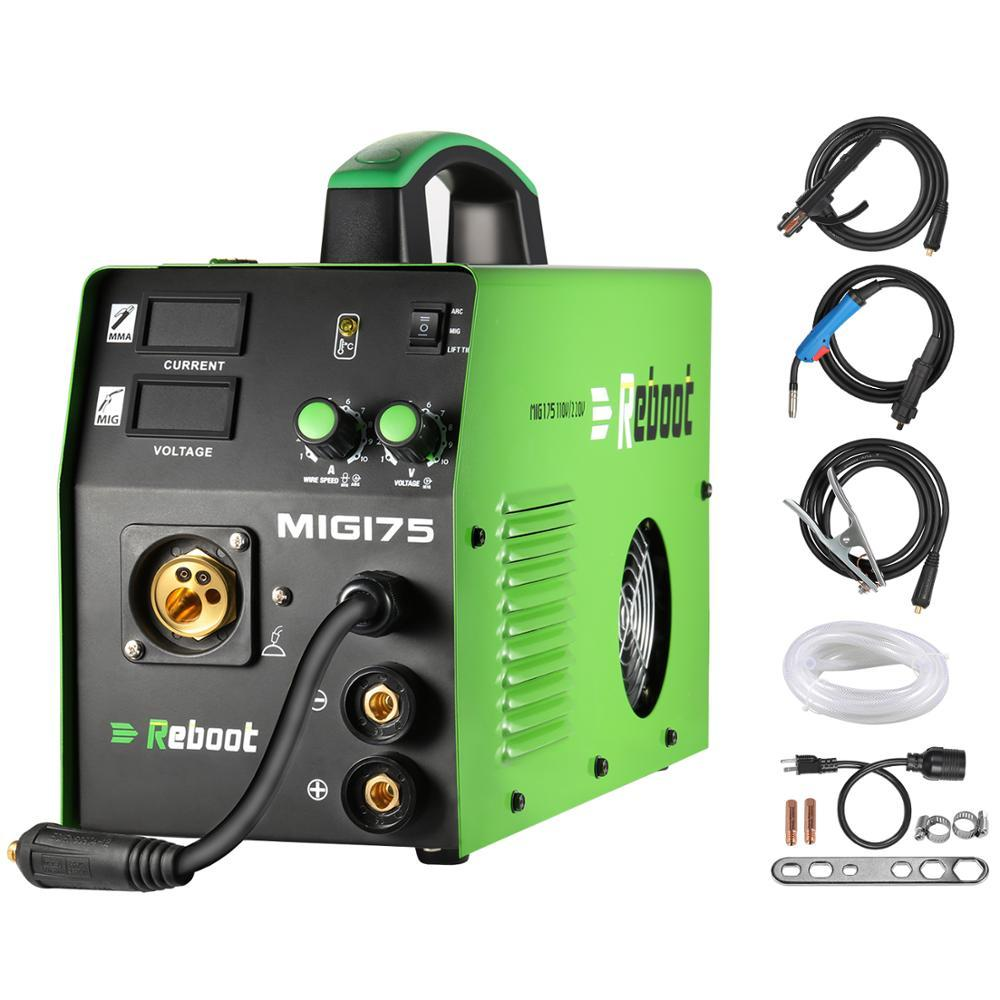 Multi- Process Reboot MIG Welder MIG175 DC 220V 5KG Flux Core Wire And Solid Wire IGBT Inverter