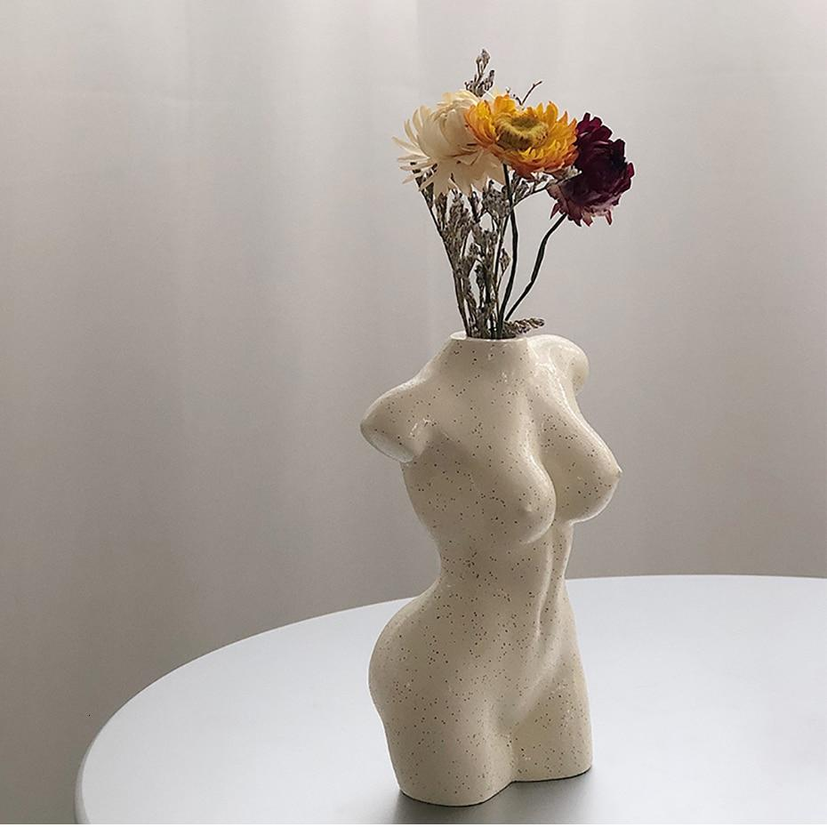 Female Body Art Design Flower Vase