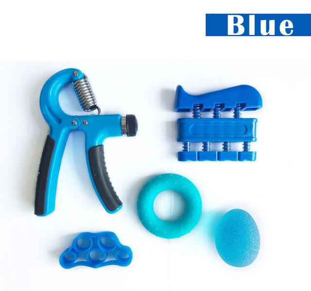5 Pieces Adjustable Hand Grip Forearm Trainer Set Gym Urban Pronto Blue