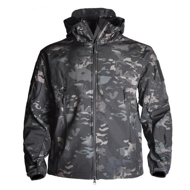 Men's Camouflage Waterproof Soft-shell Military Tactical Jacket Urban Pronto Black camo S
