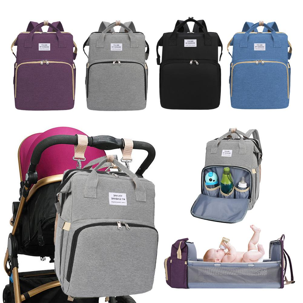 Convertible Baby Crib Diaper Travel Storage Backpack