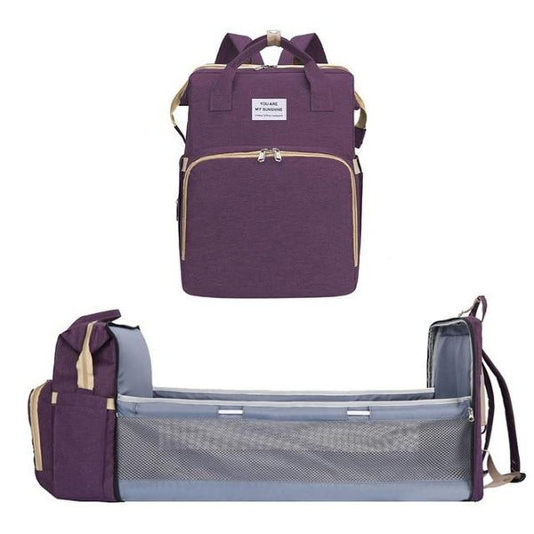 Convertible Baby Crib Diaper Travel Storage Backpack Urban Pronto Purple