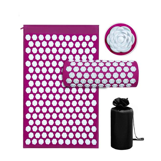 Acupressure Yoga Mat with Pillow For Help Relieving Stress, Fatigue, Chronic Pains, Insomnia, and Weight Loss. Urban Pronto Lotus 3-piece set 2