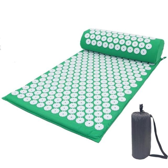 Acupressure Yoga Mat with Pillow For Help Relieving Stress, Fatigue, Chronic Pains, Insomnia, and Weight Loss. Urban Pronto Green 3-piece set
