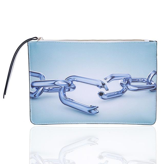 3D Chain Printed Clutch Urban Pronto White