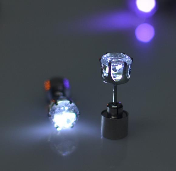Glow in the dark Charm Light Up LED Stud Earring Urban Pronto White