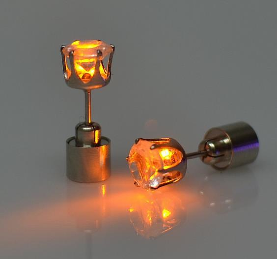 Glow in the dark Charm Light Up LED Stud Earring Urban Pronto Orange