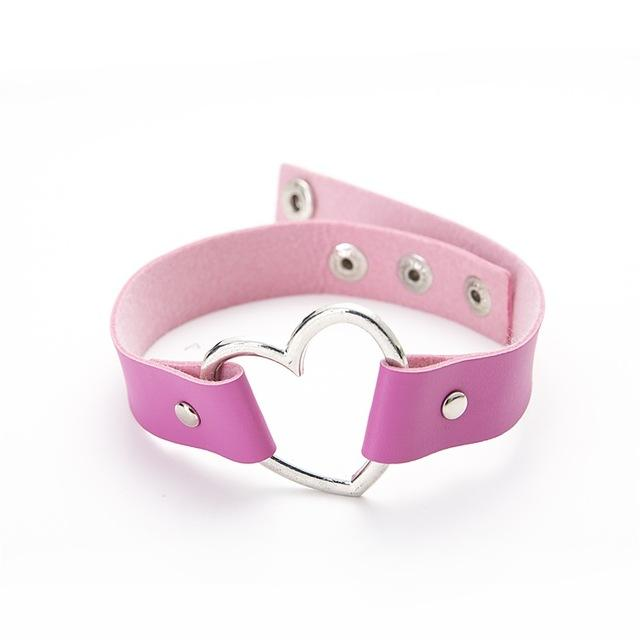 Heart Choker Necklace Urban Pronto rose red