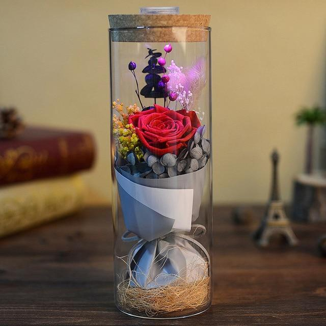 Glowing Preserved Rose Glass with Remote Control Urban Pronto Red